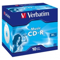 CD-R Verbatim (43365) 700MB 16x Audio Live it Jewel, 10шт