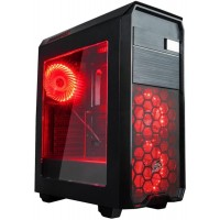 Корпус 1stPlayer Black Sir MA2 Red LED Black без БП 6931630215028